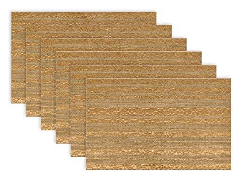DII PVC Metallic Basket weave Stripe Placemat, Set of 6, ...