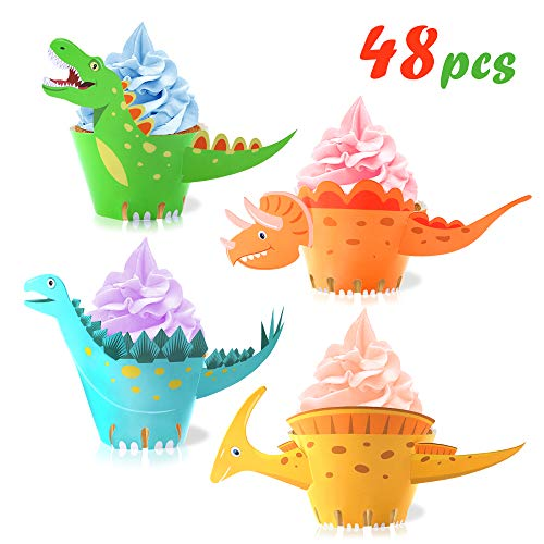 Dinosaur Cupcake Wrappers Toppers(48Pack),Konsait Little Dino Cupcake Toppers Cake Table Decorations Party Supplies for Boys Kids Birthday Party Decor ()