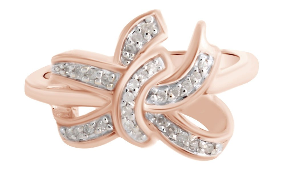 White Natural Diamond Anniversary Knot Ring In Rose Gold Over Sterling Silver (0.14 Cttw) Ring Size-12.5