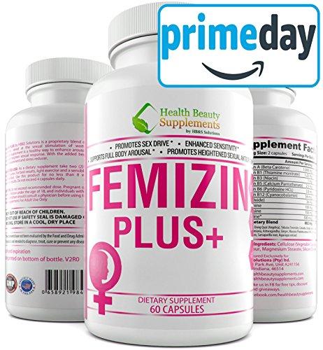 * FEMIZIN Plus+ * Hormone Free,Non GMO,Female Libido Enhancement,Female Sex Drive,Supports,Female Hormone Balance  Premium  Female Libido Enhancer,Female Libido Enhancement for A Boost in Sex Drive