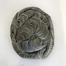 Human Hair Toupee Brazilian Remy Grey Color Men Toupee Hair Replacement Wavy Toupee 1B50