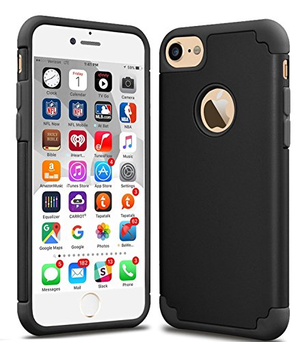 iPhone 7 Case, CaseHQ Slim Anti-Scratch Protective Heavy Duty Dual layer PC Rugged Shockproof Bumper Case Non-slip Grip Protection Cover for iPhone 7 black