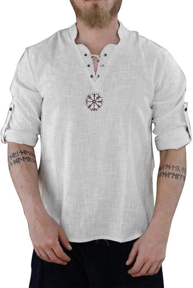 Camiseta de Hombre Color sólido Tops de algodón y Lino Camisas de ...
