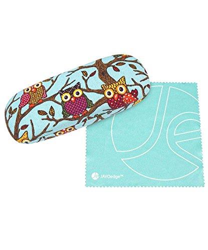 JAVOedge Sky Blue Owl Fabric Print Eyeglass/Sunglass Clam Shell Style Case with Bonus Microfiber Cleaning ()