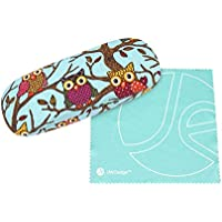 JAVOedge Owl Fabric Print Covered Clam Shell Style Eyeglass Case with Bonus Microfiber Glasses Cleaning Cloth