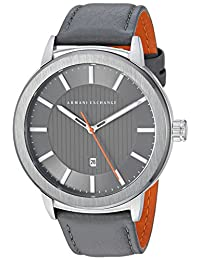 Armani Exchange AX1462 Men's Quartz Stainless Steel and Leather Casual Watch, Grey
