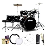 ddrum JF-D2-MB-KIT-1 Midnight Black 7 Piece Drum Set, Cymbal, Hardware and Accessories