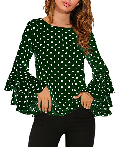 ZANZEA Women's Polka Dot Layered Ruffle Long Sleeve Crew Neck Elegant Tee Top Blouse Green US 12 (Green Tee Layered)