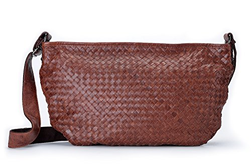Brown Hobo Genuine Bag Leather Poet Shoulder Women's Weave Satchel Slim La Woven Crossbody qS78wnnAg