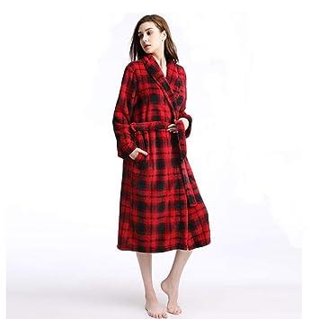 Pijamas Vestido, cinturón de Ropa de Dormir cálida para Las Mujeres, Niñas Franela de