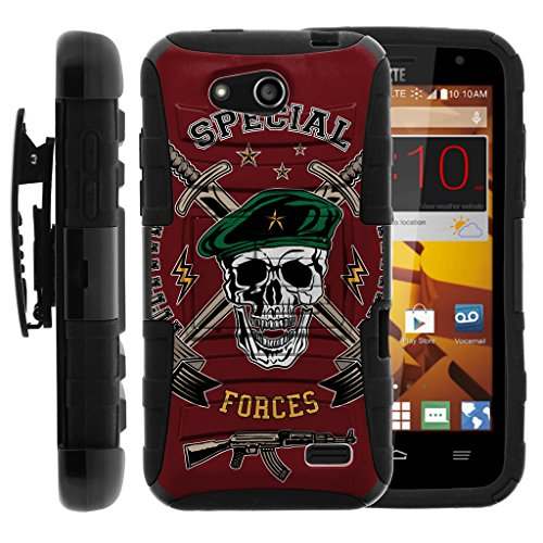 TurtleArmor | ZTE Speed Case | N9130 [Hyper Shock] Rugged Reinforced Armor Hybrid Hard Shell Kickstand Fitted Silicone Carry Holster Belt Clip War and Military Design - Special Forces