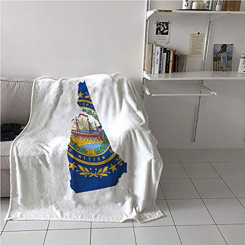 Suchashome New Hampshire Blanket Couch,The Granite State Flag as Map Nine Stars and Seal,Print Summer Quilt Comforter,All Season Blanket 57
