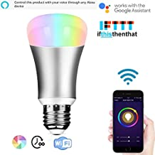 Wifi Smart LED Luz foco, trabajar con Alexa, Automatización del hogar regulable luz de noche foco equivalente a 60W A19RGBW–Color cambiante estado de ánimo IOS para fiesta luces, o decorativos de luz Luz Ambiental de la foco incluida