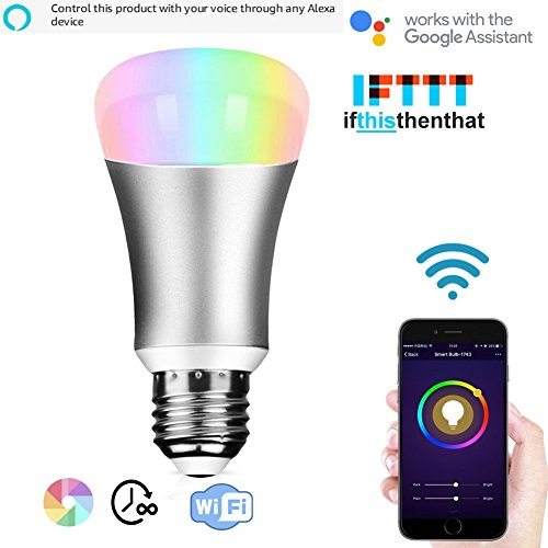 Wifi Smart Led Light bulb,Work With Alexa,Home Automation Dimmable Night Light bulb 60W Equivalent A19 RGBW Color Changing Mood Light IOS for Party Lights, or Decorative ambient light bulb