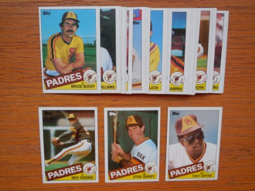 San Diego Padres 1985 Topps Baseball Team Set (28 Cards) ***Tony Gwynn, Steve Garvey, Dick Williams, Bruce Bochy, Garry Templeton, Rich Gossage, Graig Nettles, Dave Dravecky and (1972 San Diego Padres)