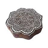 8 Inch Innovative Large Wooden Block Round Floral Design Big Printing Stamp