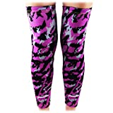 COOLOMG (Pair) Basketball Compression Knee Sleeves For Kids Youth Adult Animals Wild Long Leg Purple+Black X-Small