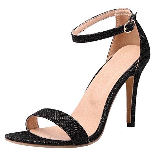 Tobillo Abierta Zapatos Al Alto Comodo Coolcept Bombas Boda Tacon Mujer Moda Negro Zapatos Punta Aguja Sandalias de Tacon UnxPW1qSan