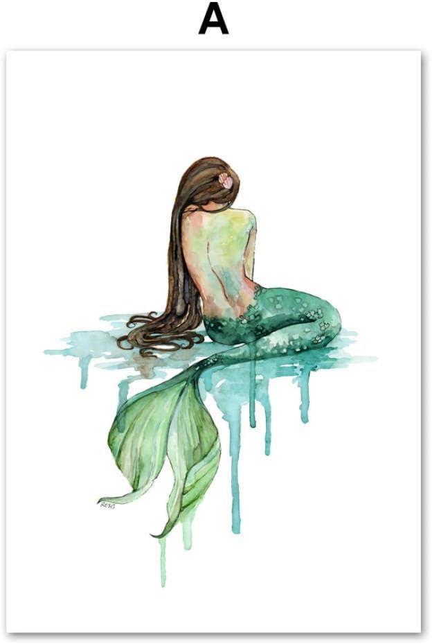 DMPro NiñA Sirena Princesa Pared Arte Lienzo Arte Pinturas Moderno Poster E Impresiones Abstracto Sala De Estar Hogar Cuadros Pared Decoracion 50x75 Cm/Sin Marco-2