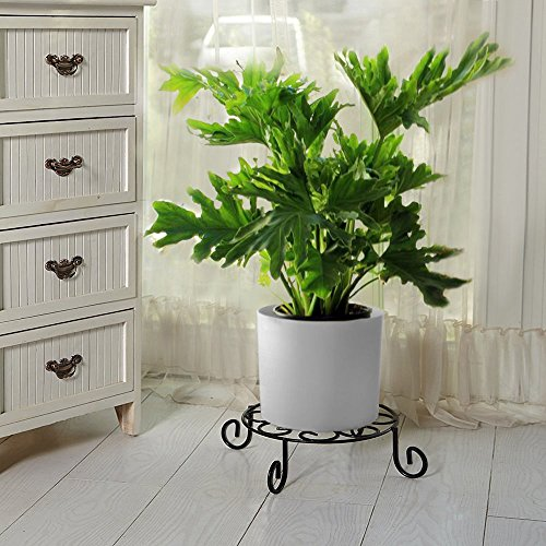tal Potted Plant Stand Rustproof Iron Art Flower Pot Holder Rack Indoor Outdoor Steel Short Planter Supports Trivet Floor Saucer Decorative Garden Pots Containers Stands Black (Iron Plant Stand)