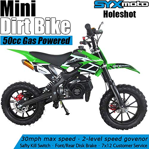 SYX MOTO Kids Mini Dirt Bike Gas Power 2-Stroke 50cc Motorcycle Holeshot Off Road Motorcycle Holeshot Pit Bike, Fully Automatic Transmission, Green