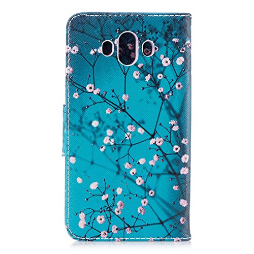 fente Hozor protection support cas de pour avec PU conception carte étui Mate aérosol peint avec Huawei portefeuille blossom Flip en magnétique en cuir fermeture d'impression 10 Plum Sxqr1wS