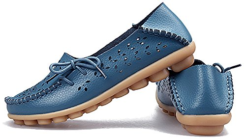 Fangsto Donna Mocassini Pantofole In Pelle Floreale Scarpe Basse Slip-on Sty-2 Azzurro
