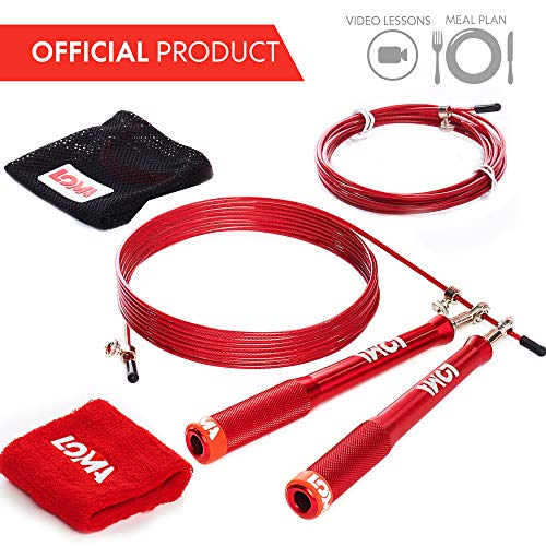 LOMA Premium Weighted Jump Rope - Speed Rope - Fitness Heavy Jump Rope - TOP Exercise Jump Rope Workout Kit - Ideal Crossfit Jump Rope - Bonus: Video Lessons & Meal Plan