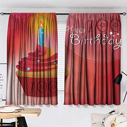 Jinguizi 100th Birthday Curtain Door Panel 100 Years Party Cupcake with Candle Abstract Vivid Colored Backdrop Bedroom Darkening Curtains Pink Red and Orange W55 x L39 by Jinguizi (Image #1)