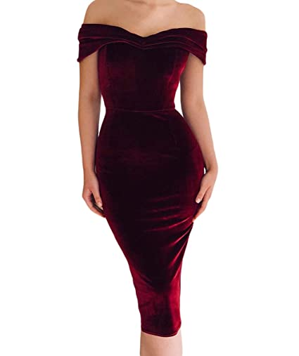 faa481f3bf9e4 LittleLittleSky Women's Sexy V Neck Off Shoulder Ruched Velvet Party  Bodycon Dresses ((US 16-18) XL, Wine Red)