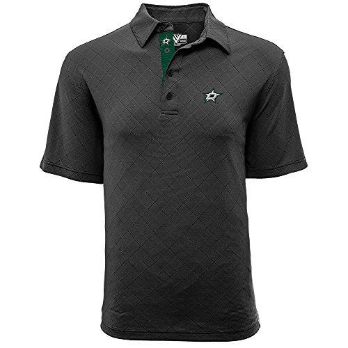Levelwear LEY9R NHL Dallas Stars Men's Barton Icon Heather Polo T-Shirt, Medium, Charcoal