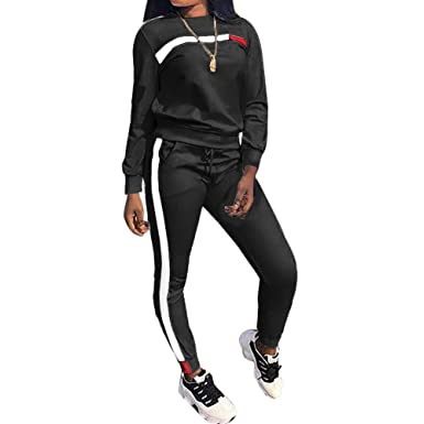 2382faa555a Amazon.com  Top-Vigor Womens 2PCS Sweatsuits Set Long Sleeve Top and  Bodycon Pants Jogging Suit Tracksuit for Women Ladies Plus Size  Clothing