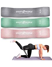 sport2people Cotton Resistance Bands Set of 3 for Booty, Legs, Glutes, Hips and Upper Body - Exercise Circle Loop Bands for Total Body Workout - Durable, Strong, Non-Slip (Pink Cotton Set)