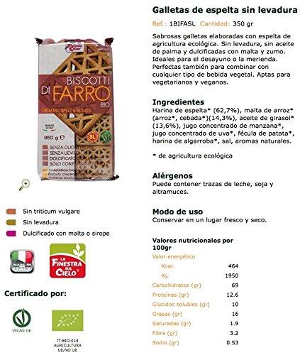 La Finestra Sul Cielo Galletas de Espelta Sin Levadura - 350 gr: Amazon.es: Alimentación y bebidas