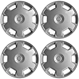 "Hubcaps for Nissan Versa / Cube, Set of 4 Pack 15"" Inch Silver , OEM Genuine Factory Replacement - Easy Snap On - Aftermarket Wheel Covers"