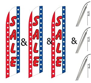 Three (3) Pack Swooper Flags & Pole Kits Sale Red White Blue Vertical Stars