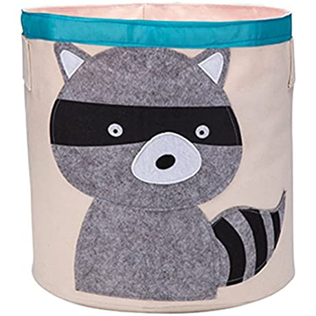 Berry President Baby Kids Children Cotton Fabric Bucket Dirty Clothes Clothing Toy Books Basket Organizer Sundries Foldable Storage Bucket Raccoon