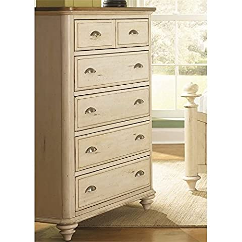 Liberty Furniture Ocean Isle Bedroom 5-Drawer Chest, Bisque with Natural Pine Finish - Pine 5 Drawer Dresser