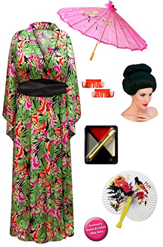 Sanctuarie Designs Tropical Print Plus Size Geisha Costume Deluxe Kit