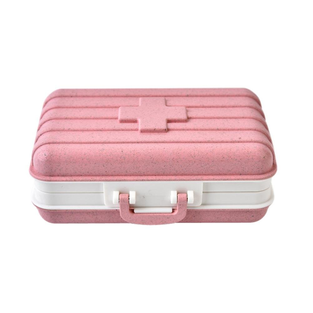 Pill Box,lotus.flower Travel Pill Bottle | First Aid | Multi-Compartment Pill and Vitamin Storage Outdoor Waterproof Pill Box Medicine Storage Organizer Container Case (Pink)