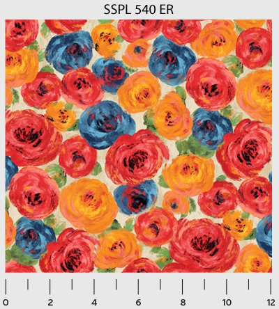 POPPY FABRIC - Half Yard - Multi Roses Floral - PB08 - By P & B Textiles - 100% Cotton -  P and B, 540ER