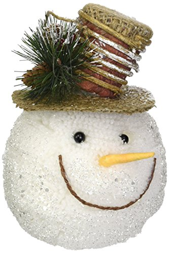 Christmas Holiday Snowman Head Ornament Wearing Brown Burlap Top Hat
