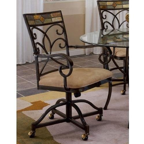 Hillsdale Pompei Caster Dining Chair - Set of 2 - & Slate Mo