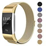 "SWEES Metal Bands Compatible Fitbit Charge 2, Milanese Stainless Steel Metal Magnetic Replacement Wristband Small & Large (5.5"" - 9.9"") Women Men, Silver, Champagne, Rose Gold, Black, Colorful"