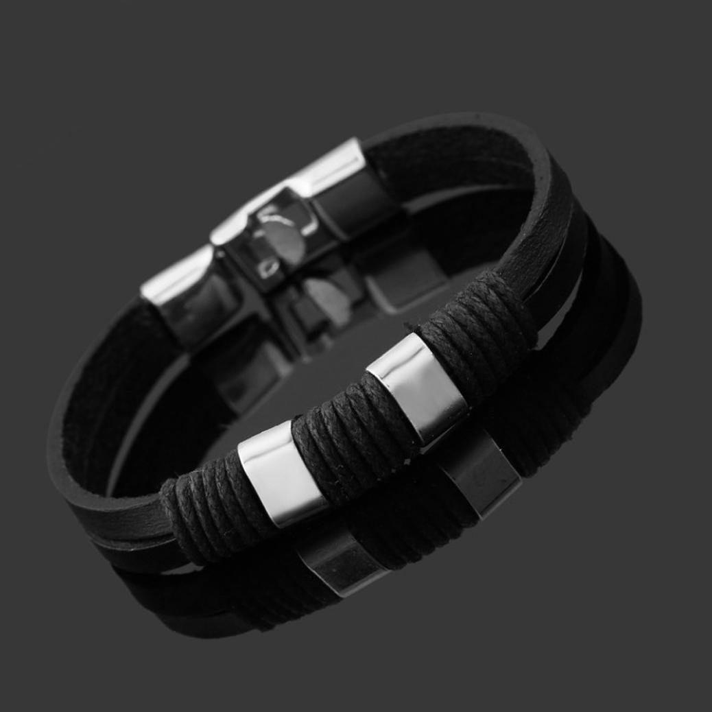 DENER Retro Hand-woven Wristband Leather Cowhide Braided Rope Adjustable Wire Bangle Bracelet