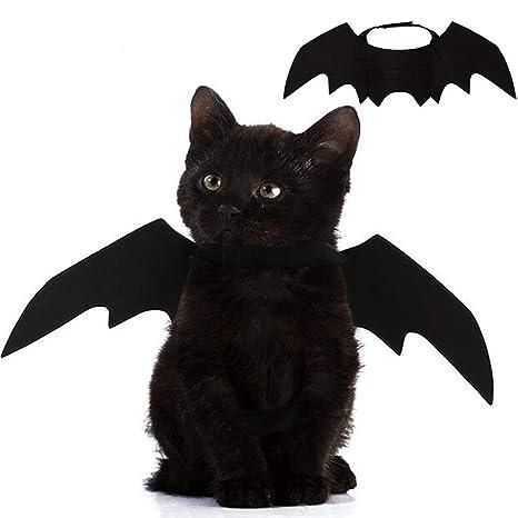 Ethradia Alas de murciélago para Mascotas, Disfraz de murciélago para Halloween, Gato, Collar