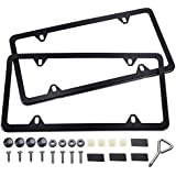 Ohuhu Black License Plate Frame, 4 Hole Matte Aluminum 2 PCS Slim License Plate Frames with Screws Caps