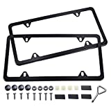 Black License Plate Frame, Ohuhu 4 Hole Matte Aluminum 2 PCS Slim License Plate Frames with Screws Caps