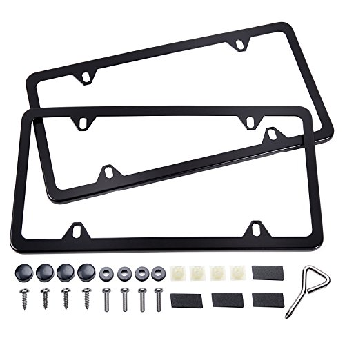 Black License Plate Frame, Ohuhu 4 Hole Matte Aluminum 2 PCS Slim License Plate Frames with Screws - Black Aluminum