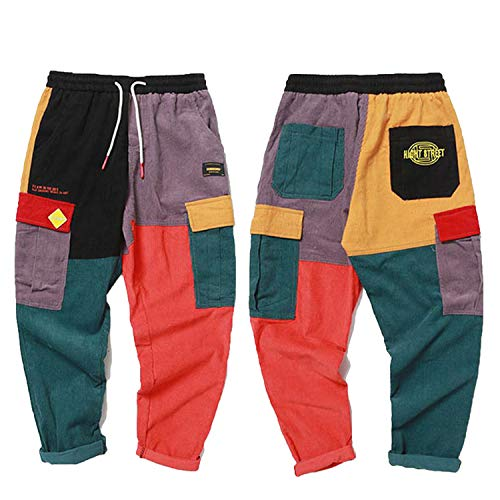 Pants Vintage Color Block Patchwork Corduroy Cargo Harem Streetwear